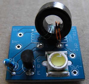 assembled and tested joule thief 011aow this joule thief is